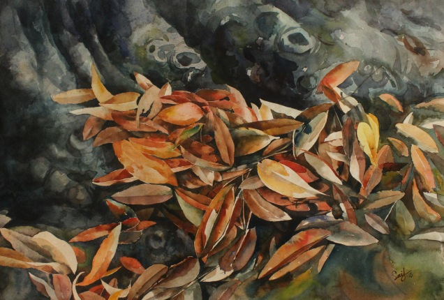 "Title: Fallen Leafs-04 (2015) Media: Watercolor on paper Size: 14"" X 22"""