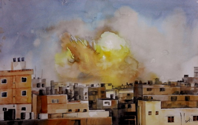 """Title: Burnt City Media: Watercolor on paper Size: 14"""" X 22"""""""