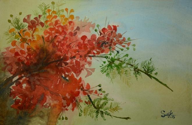 """Title: Krinochura-02 Media: Watercolor on paper Size: 14"""" X 22"""""""