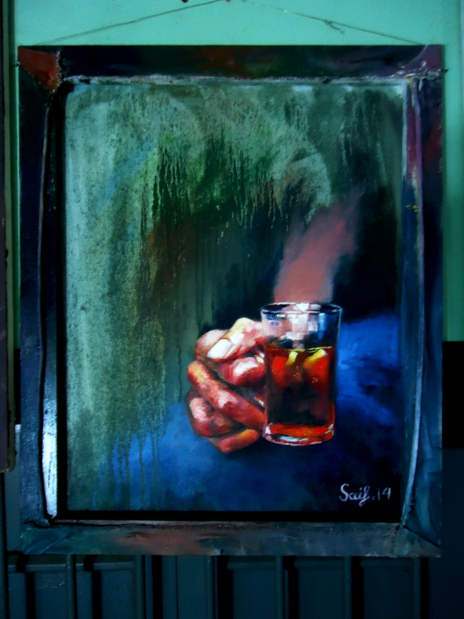 """Title: A cup of tea Media: Oil on Canvas Size: 20""""/24"""""""